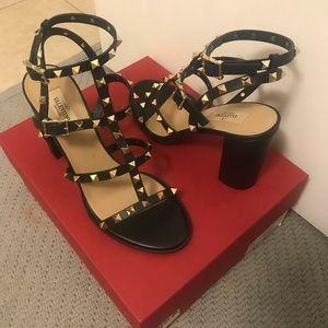 NEW VALENTINO Rockstud Leather T-Strap Block Heels